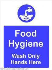 Food Hygiene Sticker/Decal Wash Only  Hands Here  A5 (145mm x 195mm)